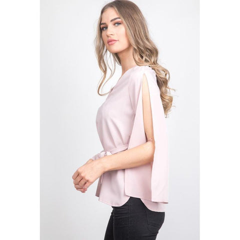 Women's Pink Open Sleeve Tie Blouse-Habitout