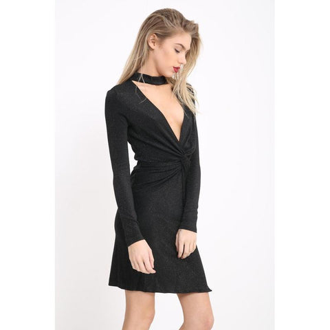 Women's Shimmer Twist Front Choker Wrap Dress-Habitout