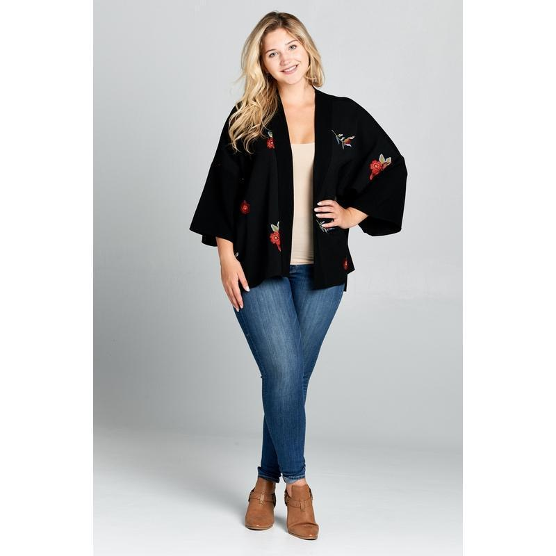 Women's Short Length Open Cardigan Plus Size-Habitout