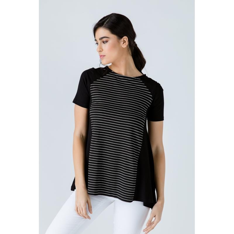 Women's Short Sleeve Black Top with Stripes-Habitout