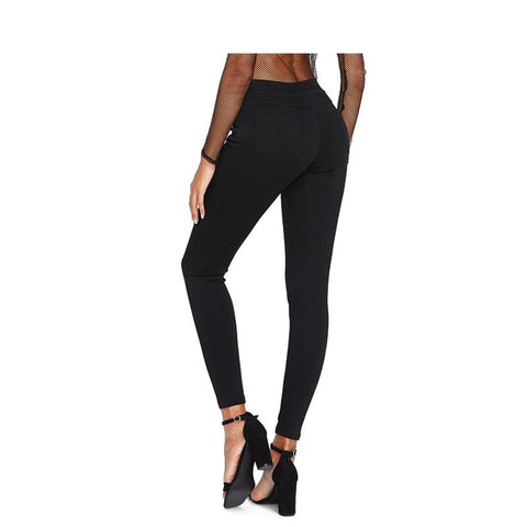Women's Skinny Fit Jeans Black-Habitout