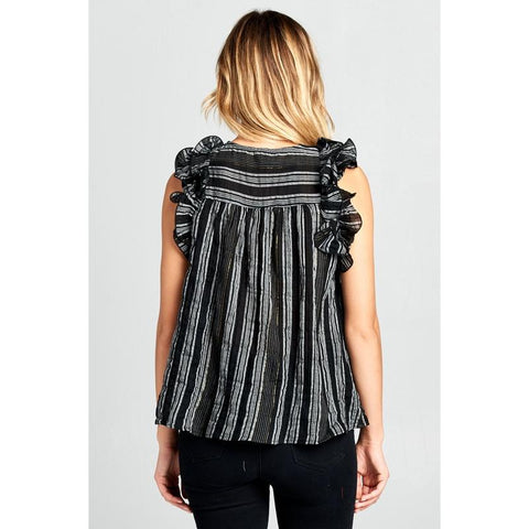 Women's Sleeveless Ruffle Striped Top-Habitout