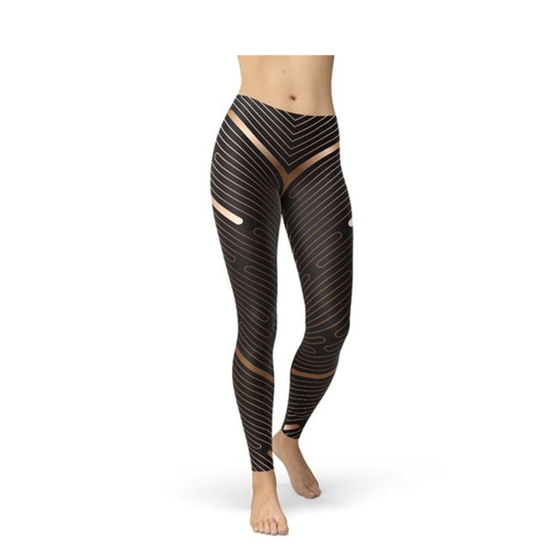 Women's Striped Lines Sports Brown Leggings-Habitout