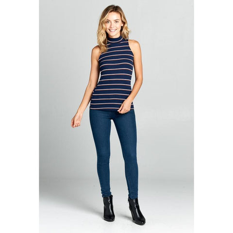 Women's Striped Sleeveless Turtleneck Top-Habitout
