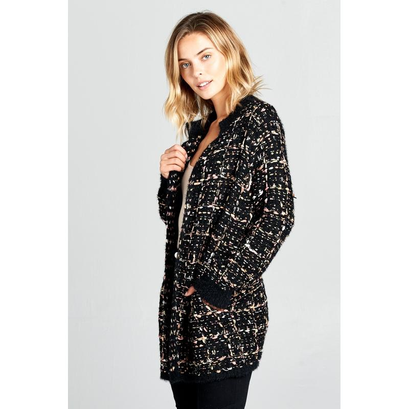 Women's Thick Knit Black Coral Cardigan-Habitout