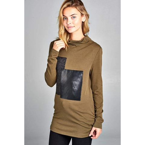 Women's Turtleneck Sweater With Block Pattern-Habitout