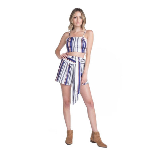 Women's Unique Stripe Print Set with Tie-Habitout
