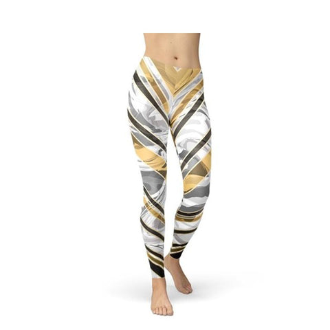 Women's White Marble & Black Gold Lines Leggings-Habitout