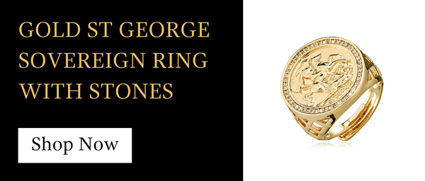 Gold St George sovereign ring with stones by Bling King