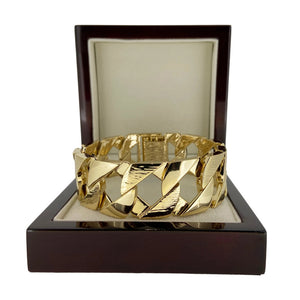 27mm Gold Bark Cuban Bracelet - Blingkinguk (4371308707883)
