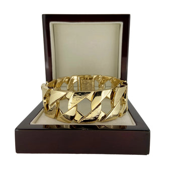 27mm Gold Bark Cuban Bracelet - Blingkinguk