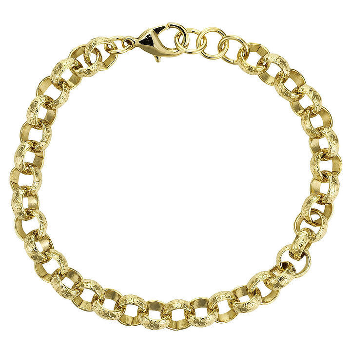 8mm Gold Diamond Cut Pattern Belcher Bracelet-Bracelets-Bling King-6-inch Bracelet-Bling King