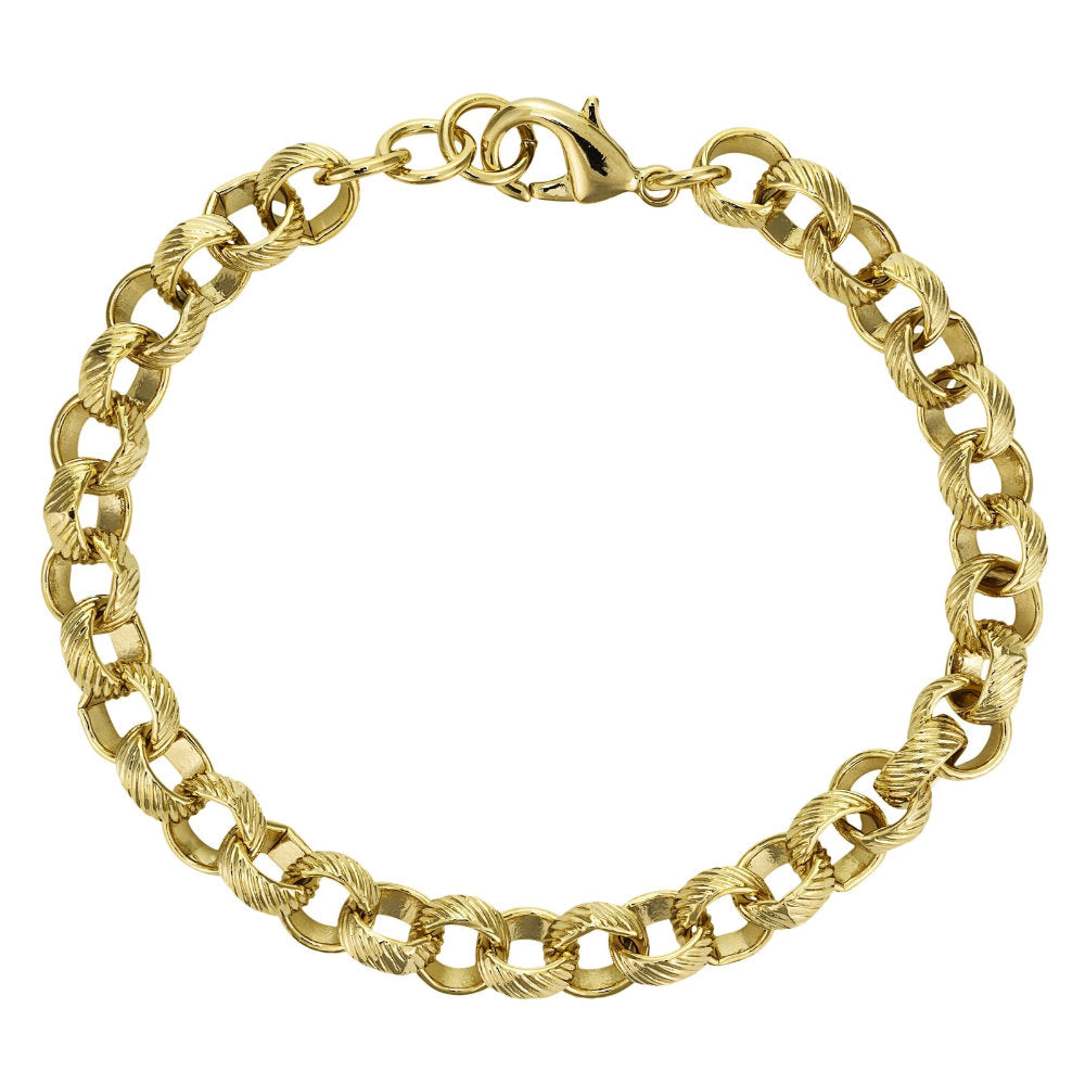 8mm Gold Lined Pattern Belcher Bracelet - Blingkinguk