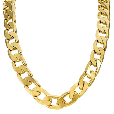Set 9+30 inch 12mm Gold Cuban Chain Necklace and Bracelet-Chains-Bling King-Bling King