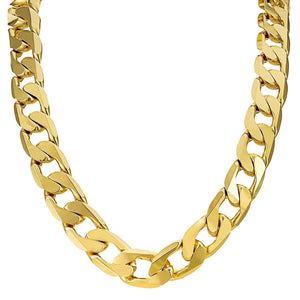 12mm Gold Cuban Chain Necklace and Bracelet Set - Blingkinguk