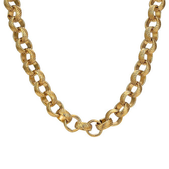 8mm Gold Lined Pattern Belcher Chain - Blingkinguk