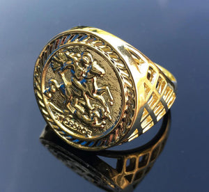 Gold St George Sovereign Ring - Blingkinguk