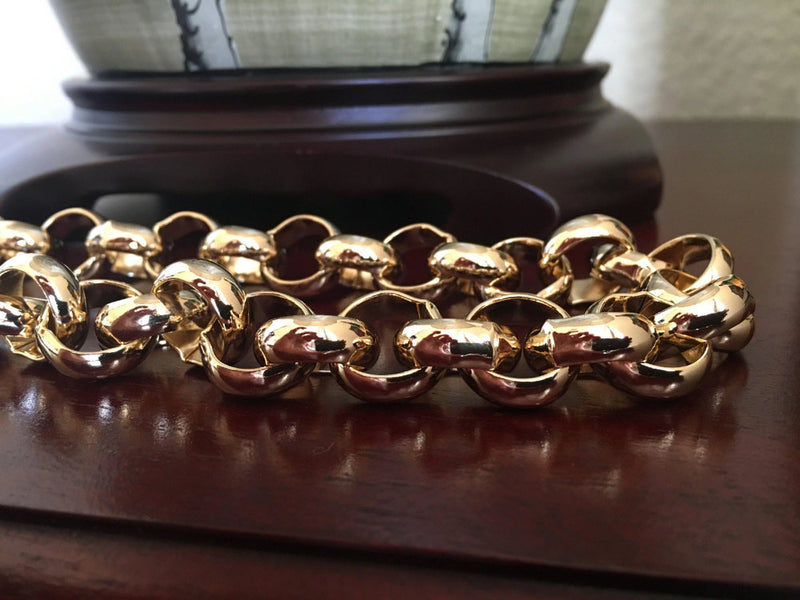 16mm XXL Gold Belcher Chain and Bracelet Set - Blingkinguk