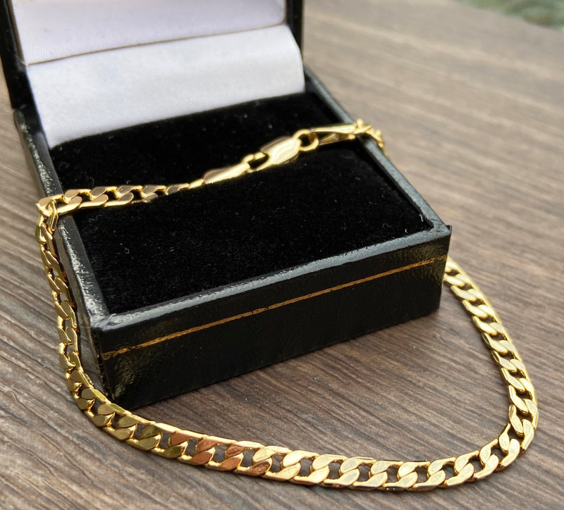 4mm Gold Cuban Chain Bracelet