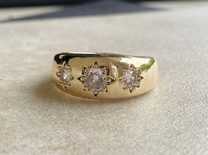 Gold Filled Antique 3 Clear Stone Gypsy Ring