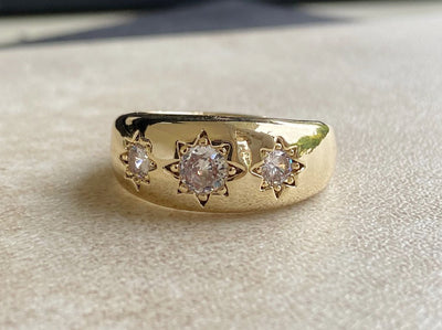 Gold Filled Antique 3 Clear Stone Gypsy Ring-Rings-Bling King-Bling King