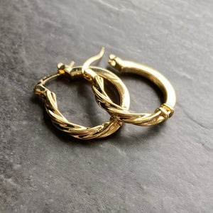 Gold Twisted Creole Hoop Earrings Ladies