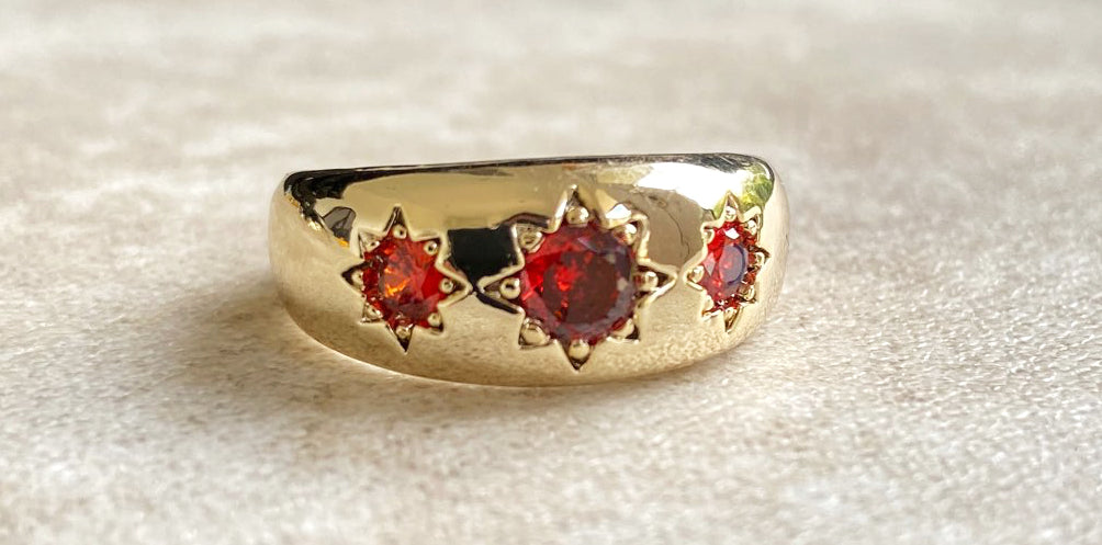Ruby Gold Filled Antique 3 Stone Gypsy Ring