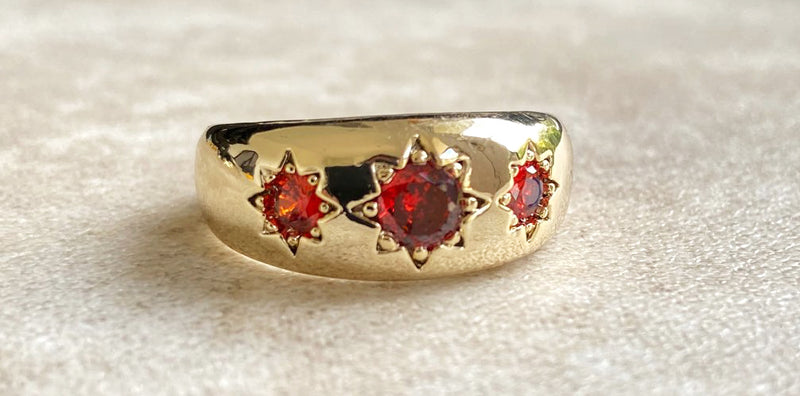 Ruby Gold Filled Antique 3 Stone Gypsy Ring-Rings-Bling King-Bling King