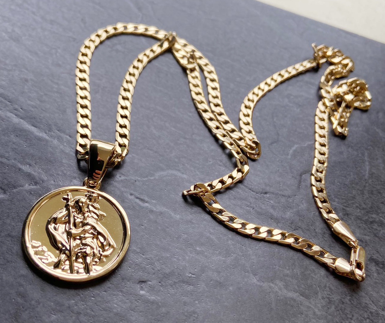 16 Inch Gold St. Christopher Pendant-Necklaces and Pendants-The Bling King-Bling King