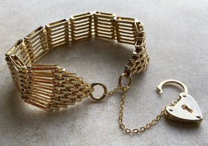Large Gold Ladies Gate Bracelet GF with Double Sided Heart Padlock