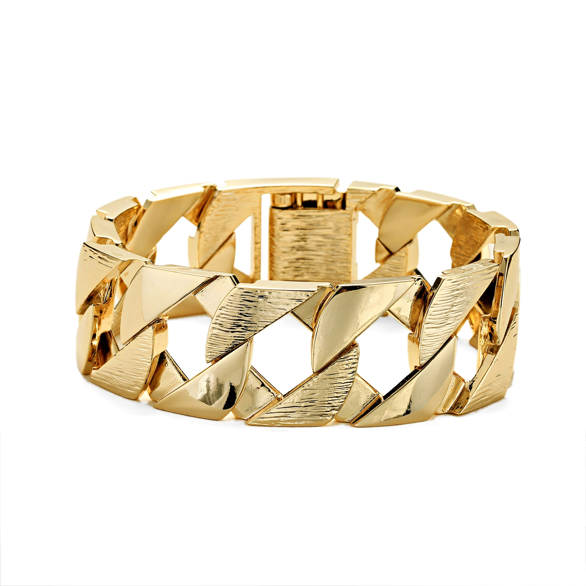 27mm Gold Bark Cuban Bracelet