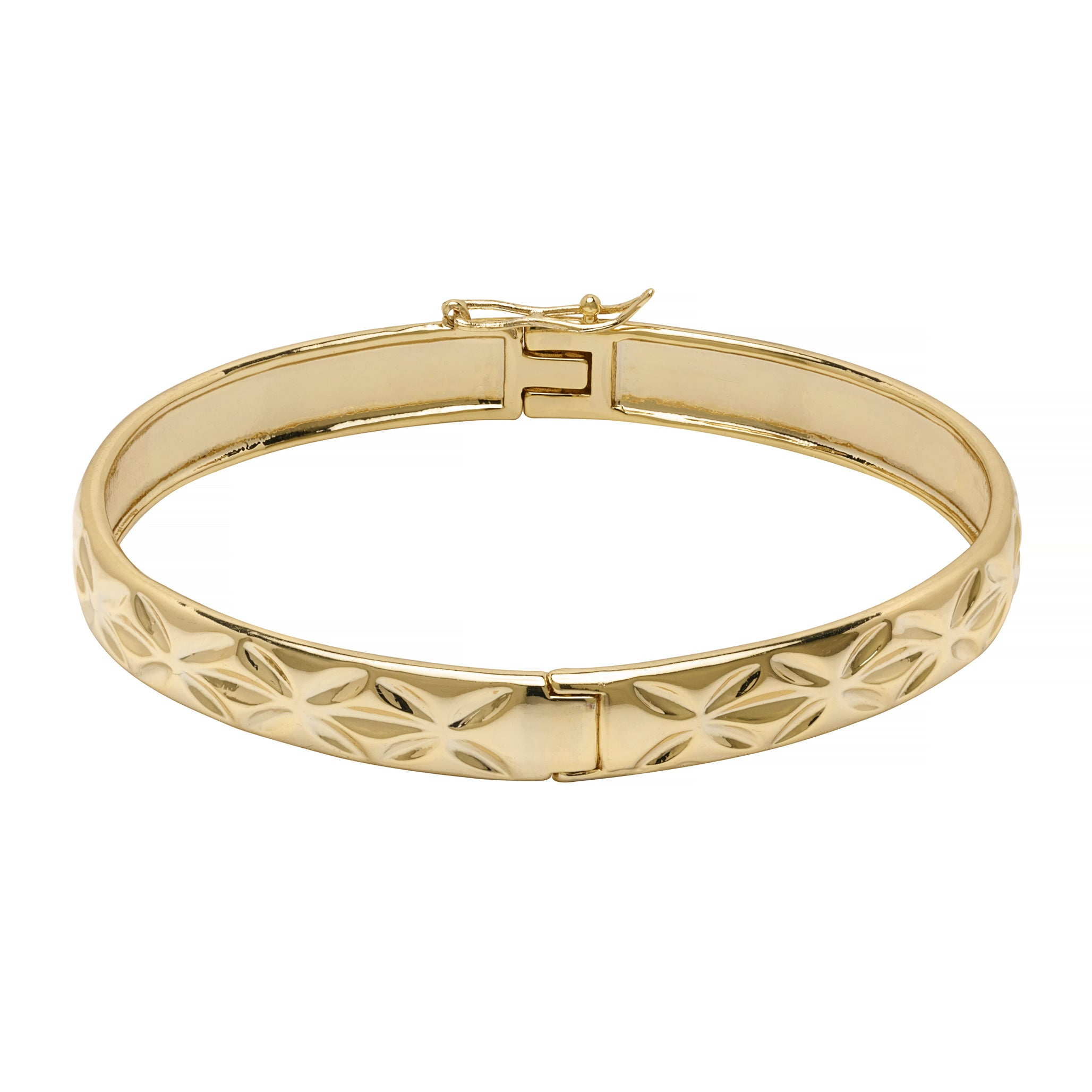 Gold Diamond Pattern Etched Bangle with Box