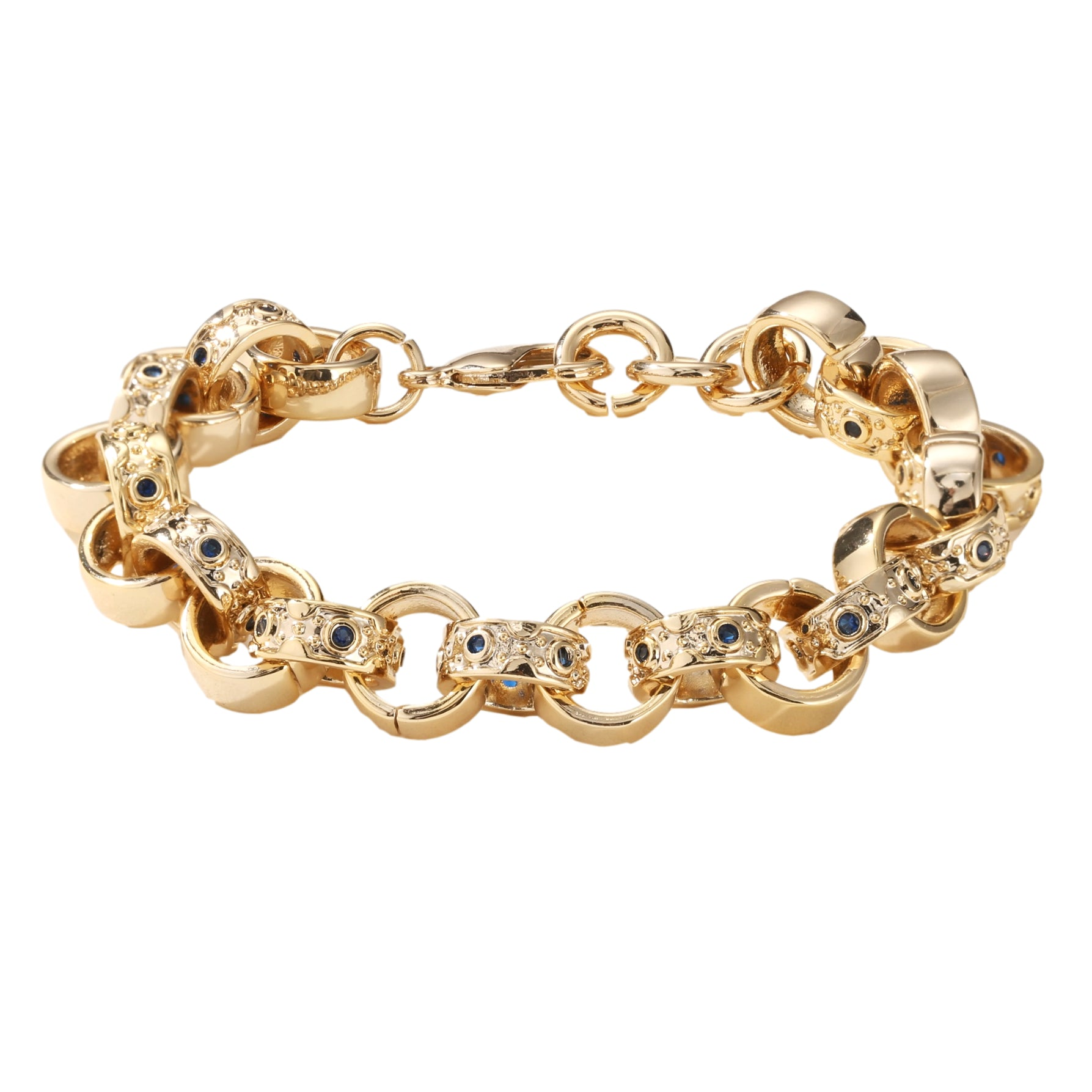 9mm Gold Crystal Pattern Belcher Bracelet For Boys Blue Kids