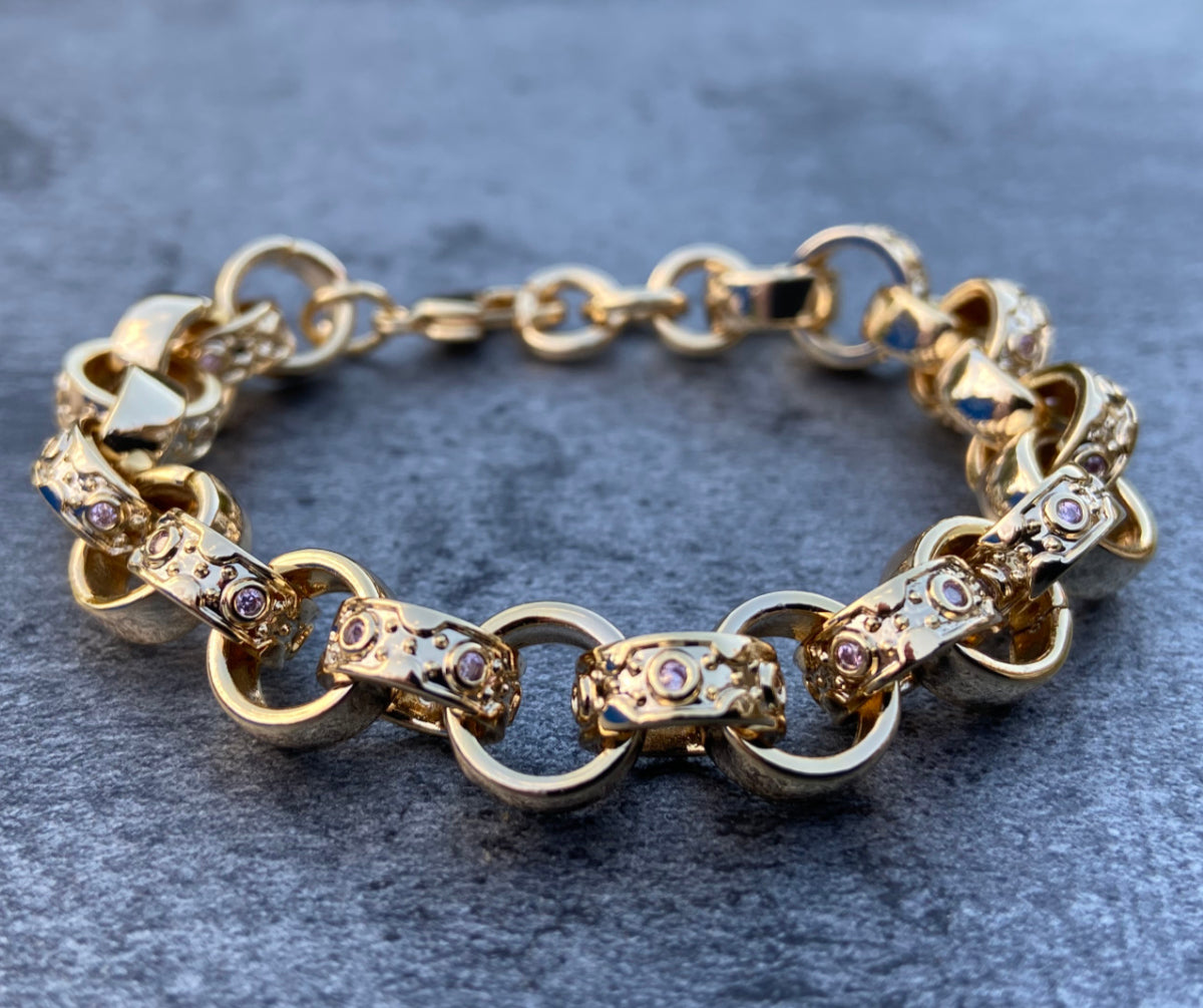 9mm Gold Crystal Pattern Belcher Bracelet For Girls Pink Kids