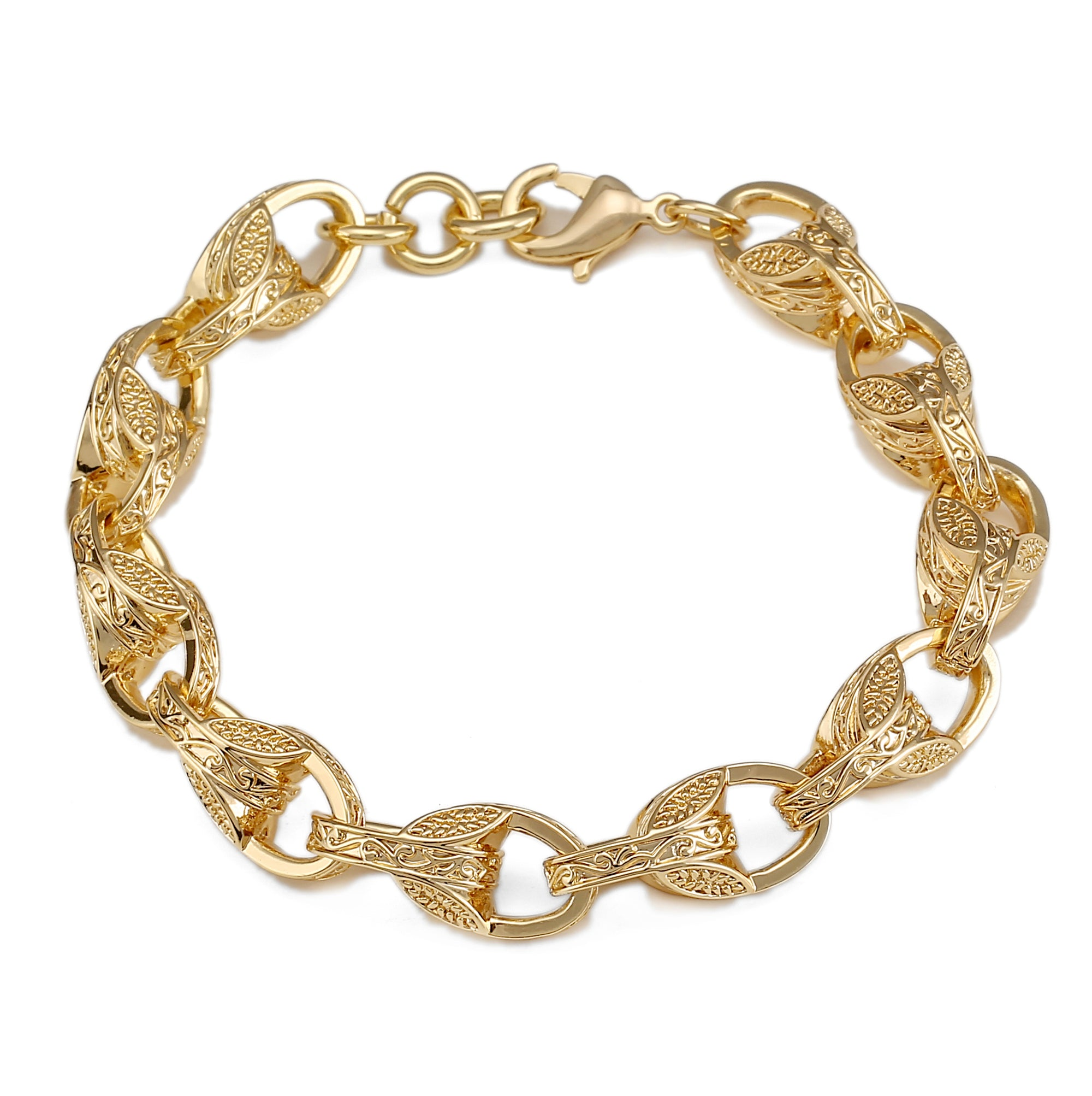 [Upgraded Quality] Gold 3D Patterned Tulip Bracelet-Bracelets-Bling King-Bling King