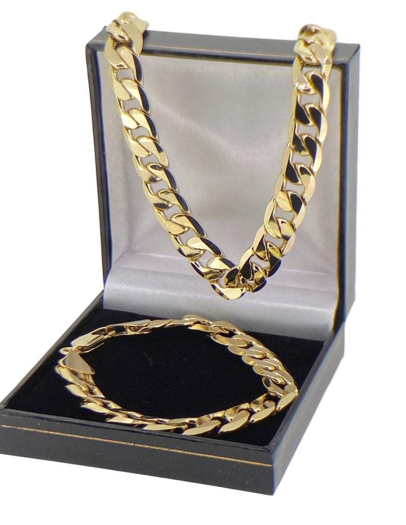 Set 8+20 inch 12mm Gold Cuban Chain Necklace and Bracelet-Chains-Bling King-Bling King