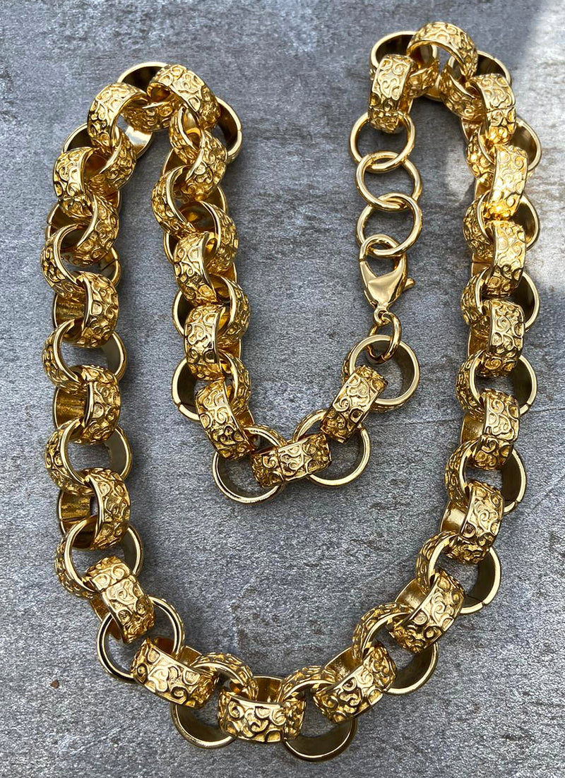 [Upgraded Quality] 15mm Gold XXL Ornate Belcher Chain-Bracelets-Bling King-Bling King