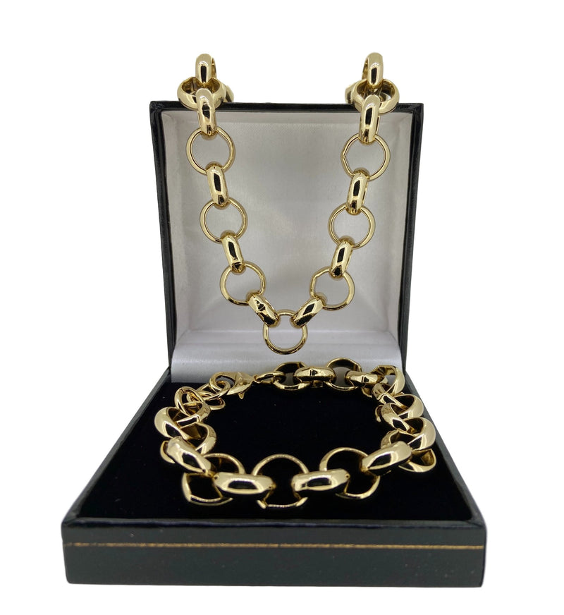 Set 16mm XXL Gold Belcher Chain and Bracelet-Bracelets-Bling King-Bling King