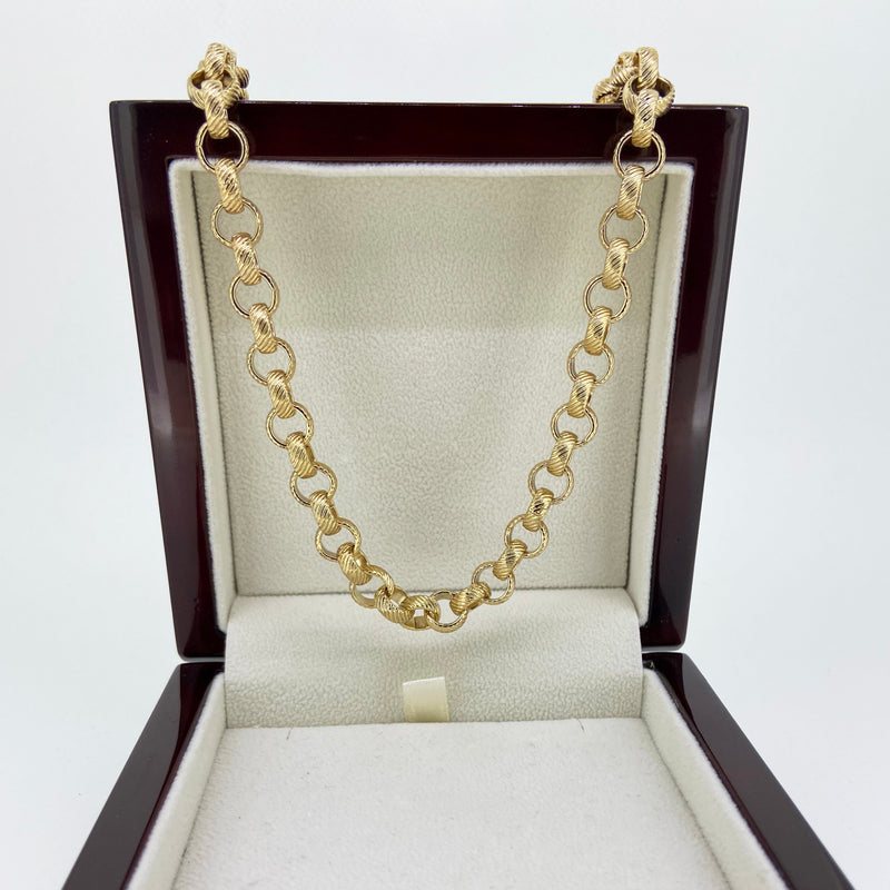 8mm Gold Lined Pattern Belcher Chain-Chains-Bling King-Bling King