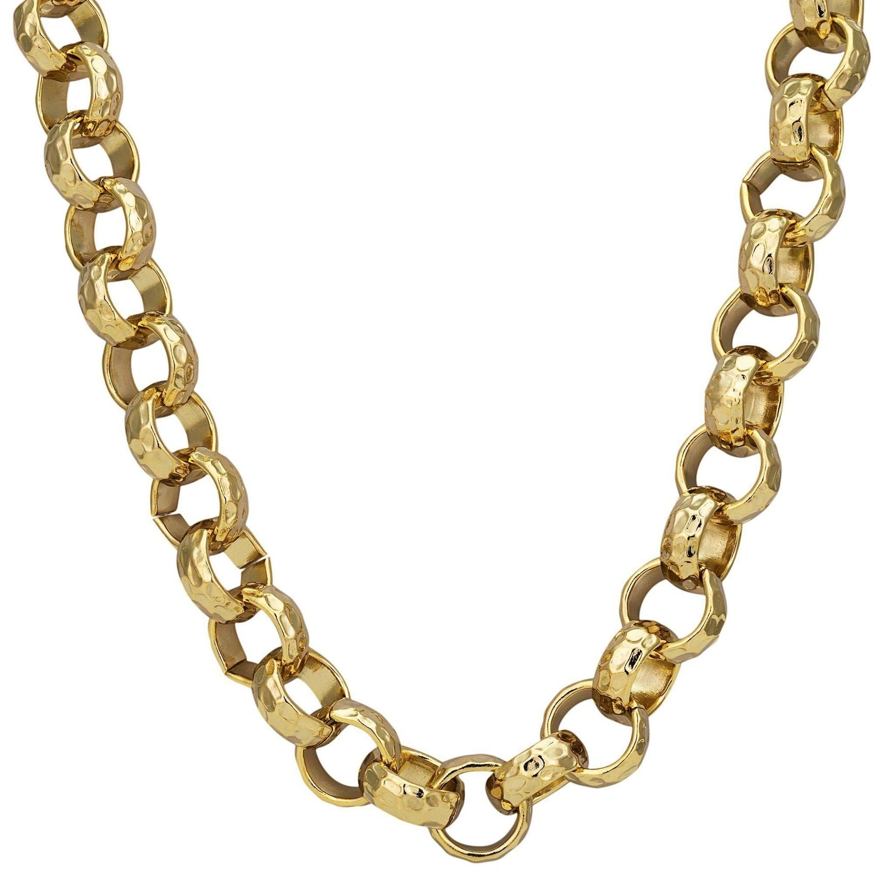 12mm Gold Diamond Cut Pattern Belcher Chain