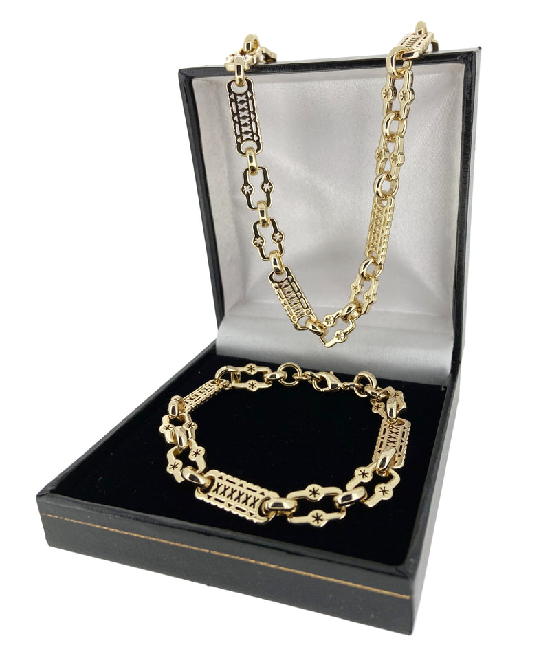Set 20 Inch Gold Stars and Bars Chain and Bracelet-Chain-sell4profituk-Bling King