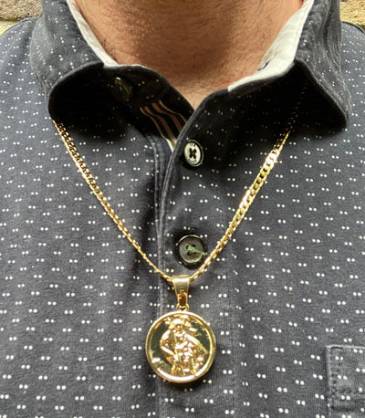 Gold St. Christopher Pendant-Necklaces and Pendants-The Bling King-Bling King