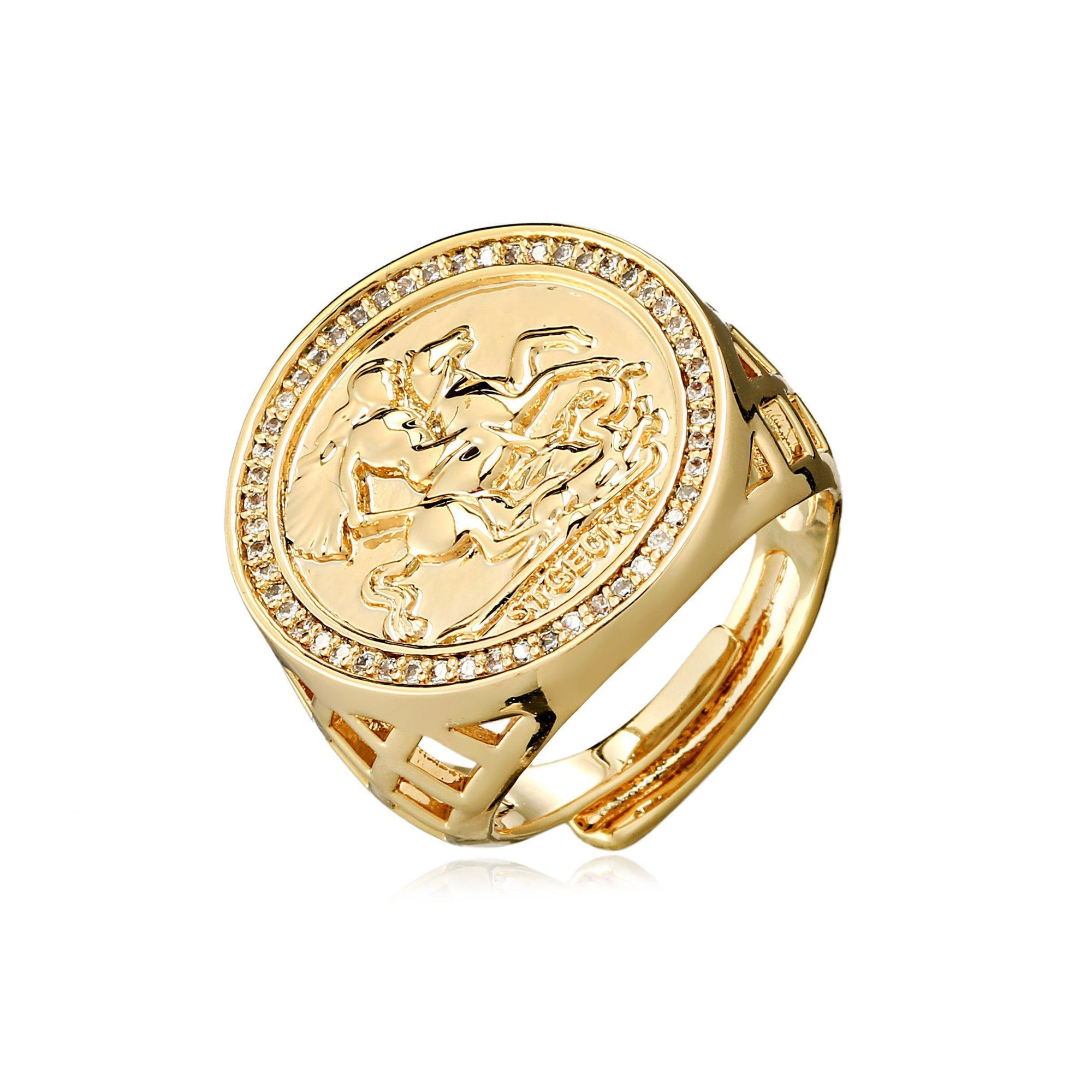 Gold St George Sovereign Ring with Stones-Rings-The Bling King-Bling King