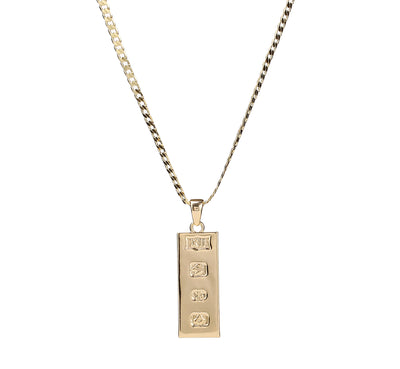 Gold Ingot Bar Pendant-Necklaces and Pendants-The Bling King-Bling King