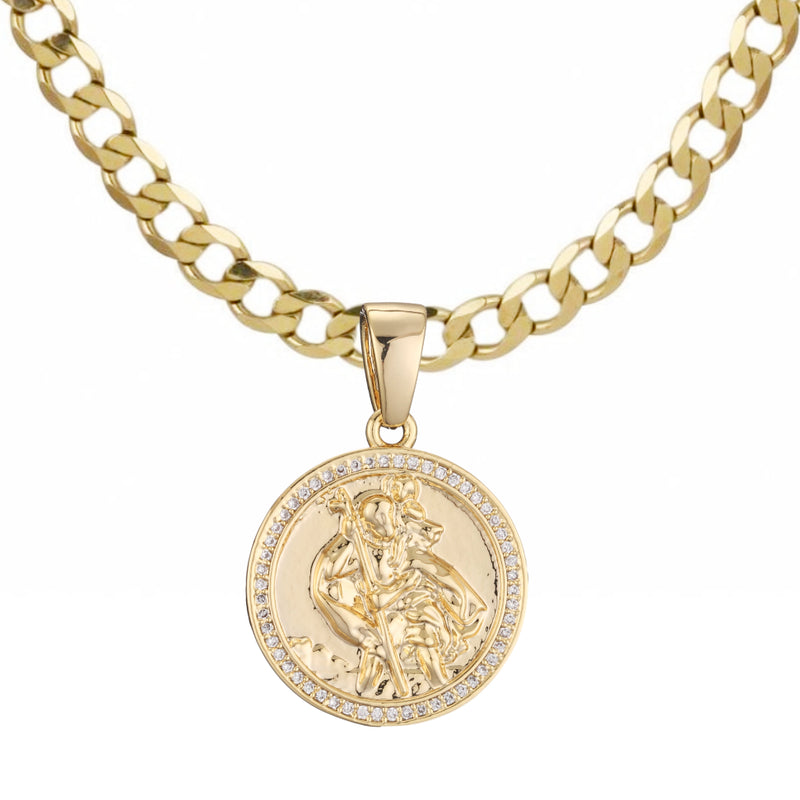 16 inch Gold St. Christopher Pendant with Crystals-Necklaces and Pendants-The Bling King-Bling King