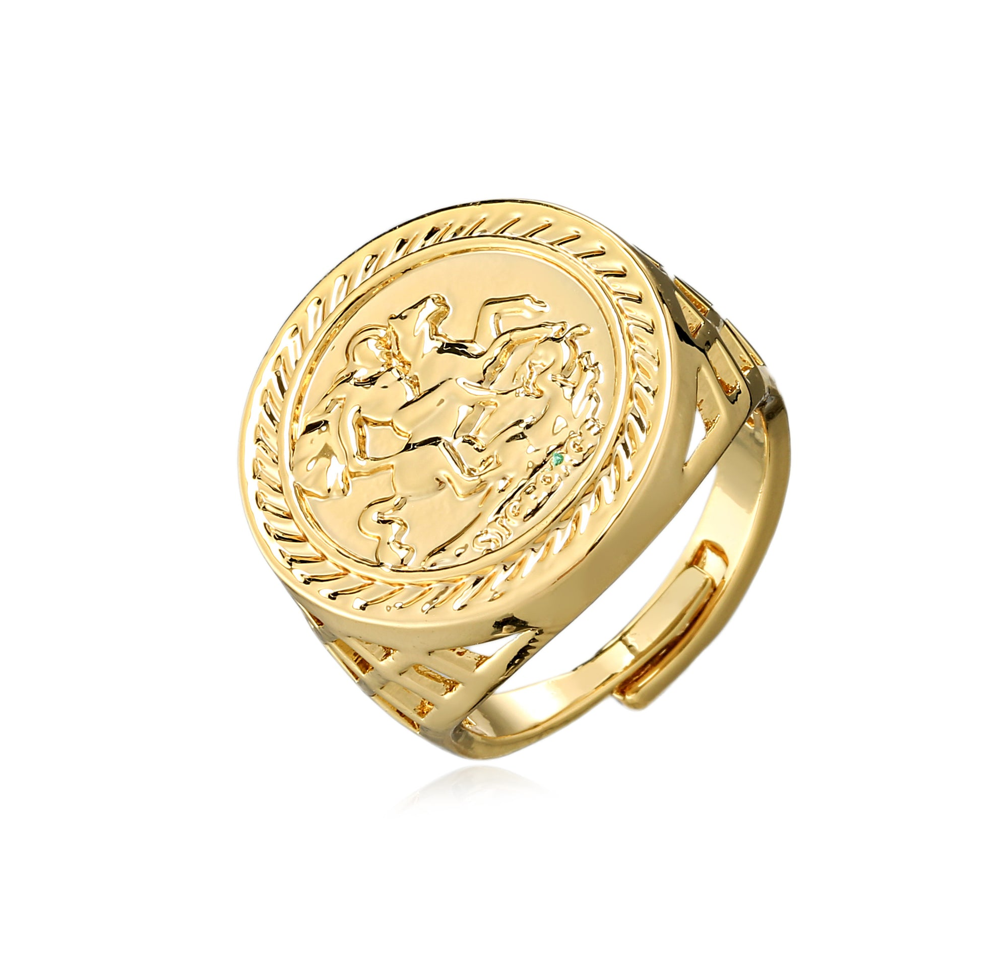 Gold St George Sovereign Ring-Rings-The Bling King-Bling King