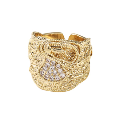 Gold Saddle Ring with Stones-Rings-The Bling King-Bling King