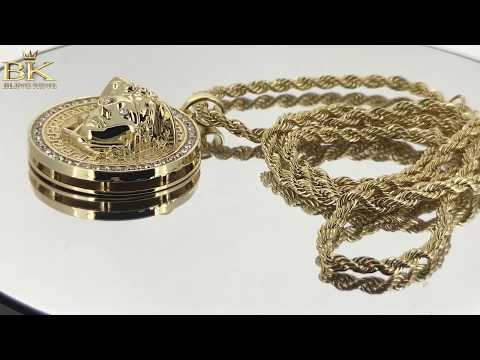 PVD Gold Round Circle 3D Medusa Pendant Necklace 30 inches Rope Chain Included