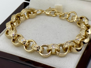 12mm Gold Crystal Pattern Belcher Bracelet Big Links