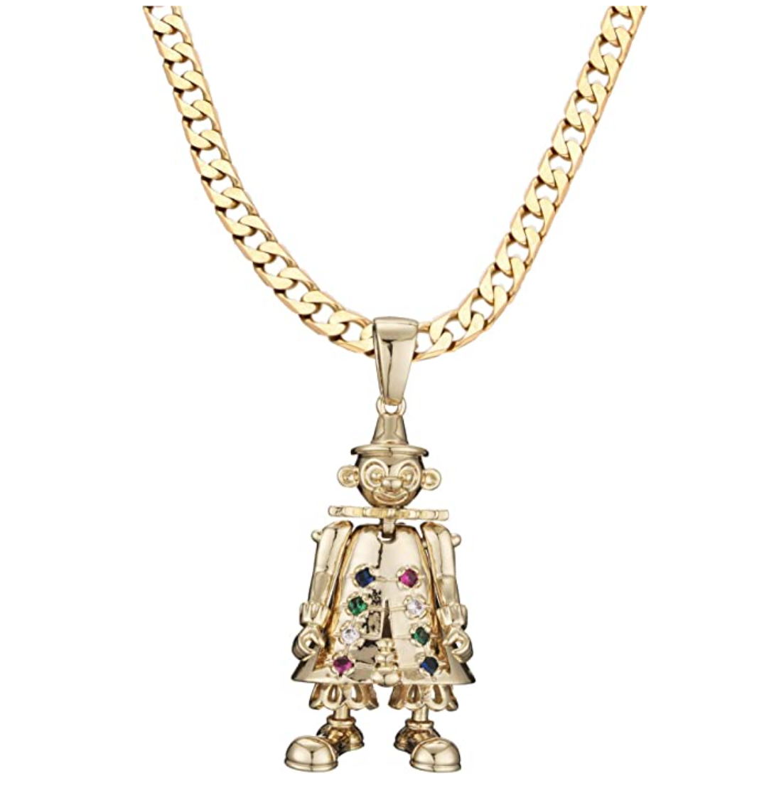 3D Clown Pendant with 4mm 16 inch Curb Chain-Necklaces & Pendants-Bling King-Bling King